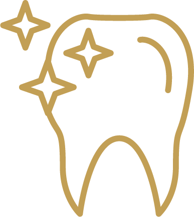 Sparkling white tooth icon in gold
