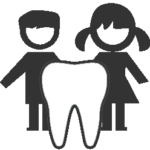 little boy and little girl behind a tooth icon