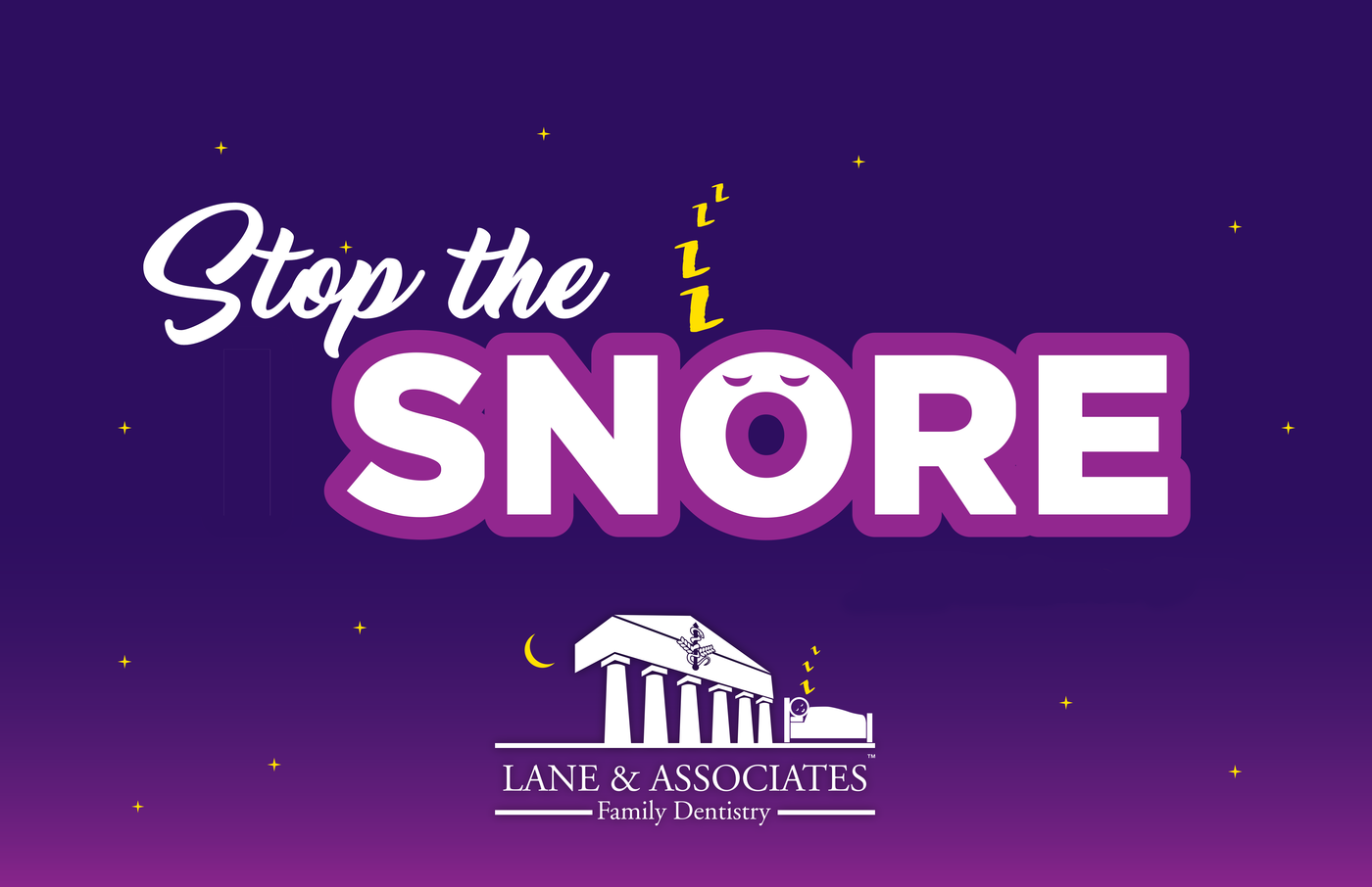 purple stop snoring logo with yellow z's and white lane and associates logo