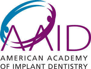 Purple and Teal Logo for American Academy of Implant Dentistry