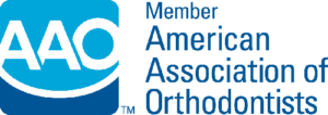 Light blue and dark blue American Association of Orthodontists logo