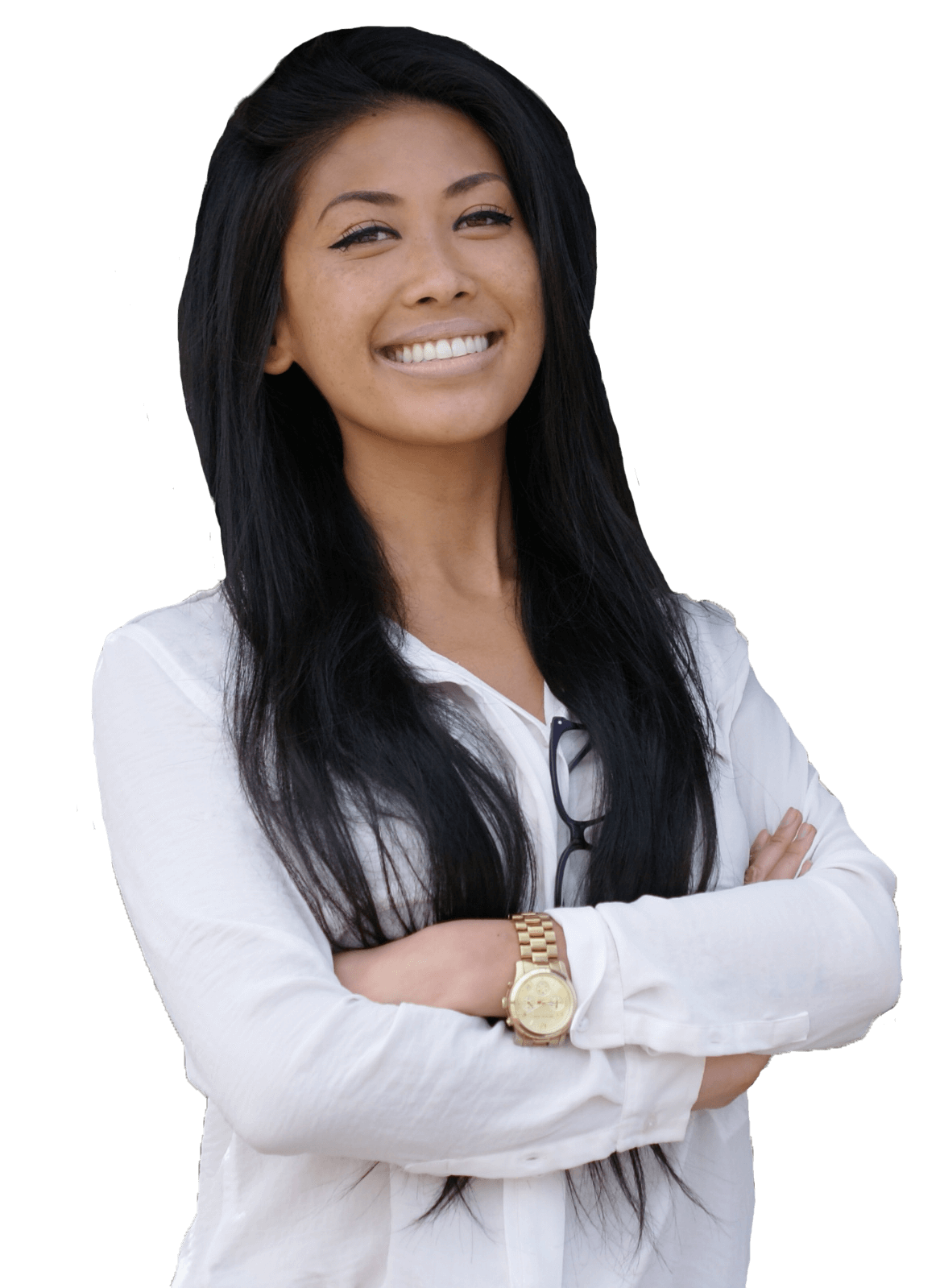 Asian female Orthodontist smiling with hands crossed