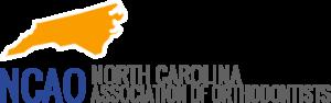 Bright orange North Carolina state symbol with blue writing NCAO North Carolina Association of Orthodontists
