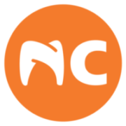 North Carolina Oral Surgery and Orthodontics Logo bright orange with white tooth