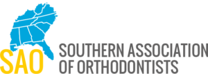 Bright blue and yellow with gray writing for Southern Association of Orthodontists logo showing part of the southern USA