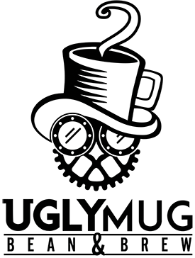Ugly Mug Bean and Brew Garner NC Logo with clock gears and coffee mug as hat