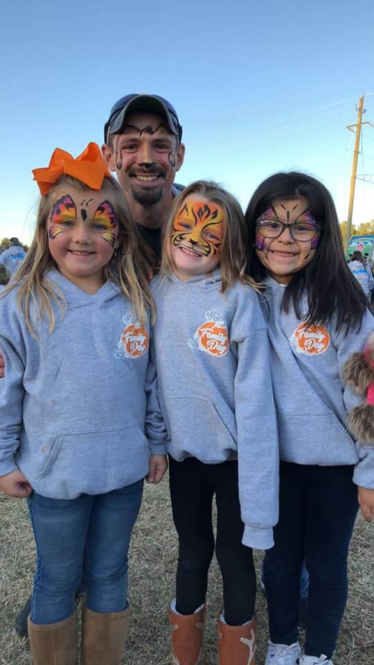 face painted girls at Family Day