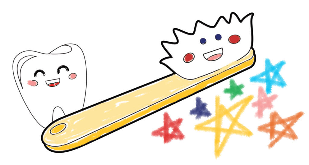 toothbrush and tooth graphic with stars