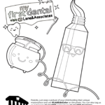 Toothpaste and floss coloring page
