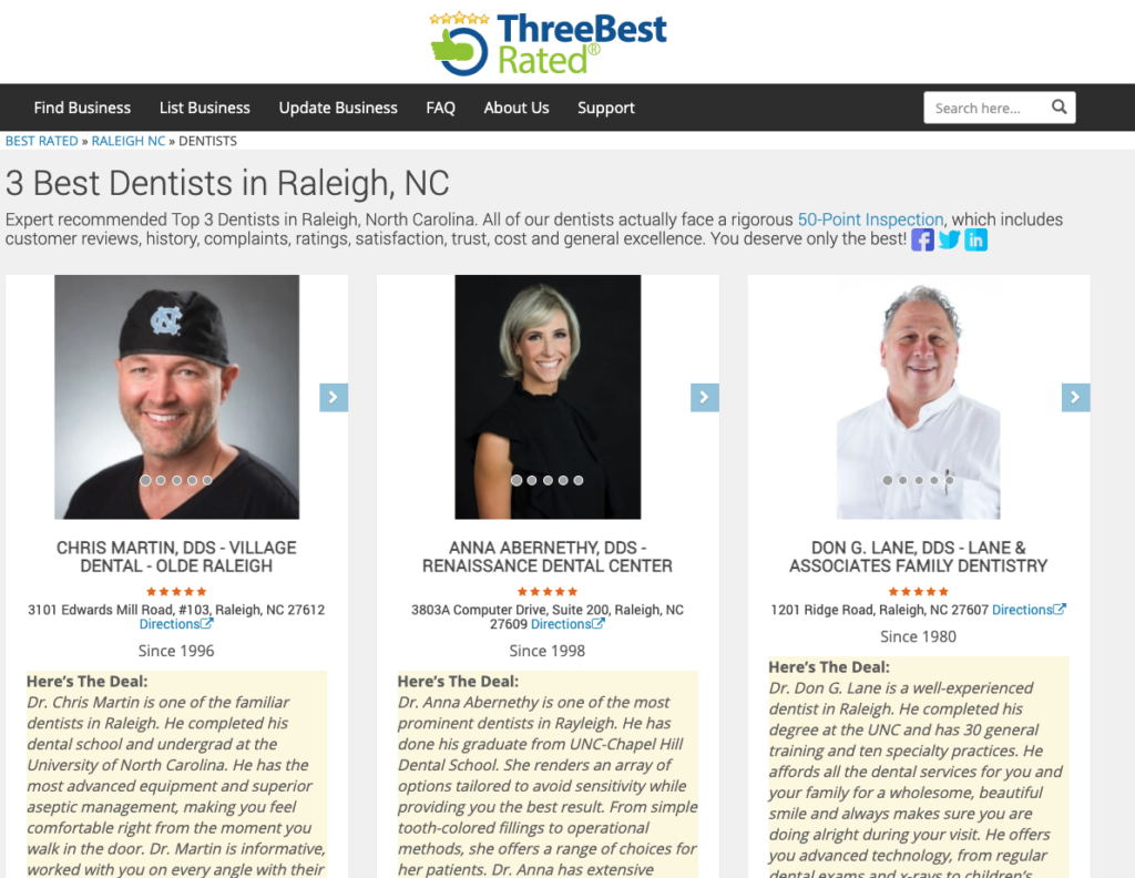 Three Best Rated Dentists in Raleigh NC 2021