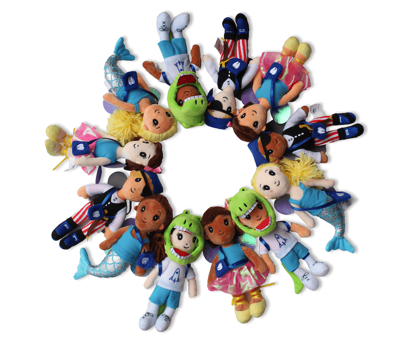 All styles of First Dental Visit Dolls in a circle